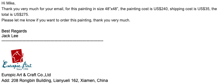 Email from Jack Lee